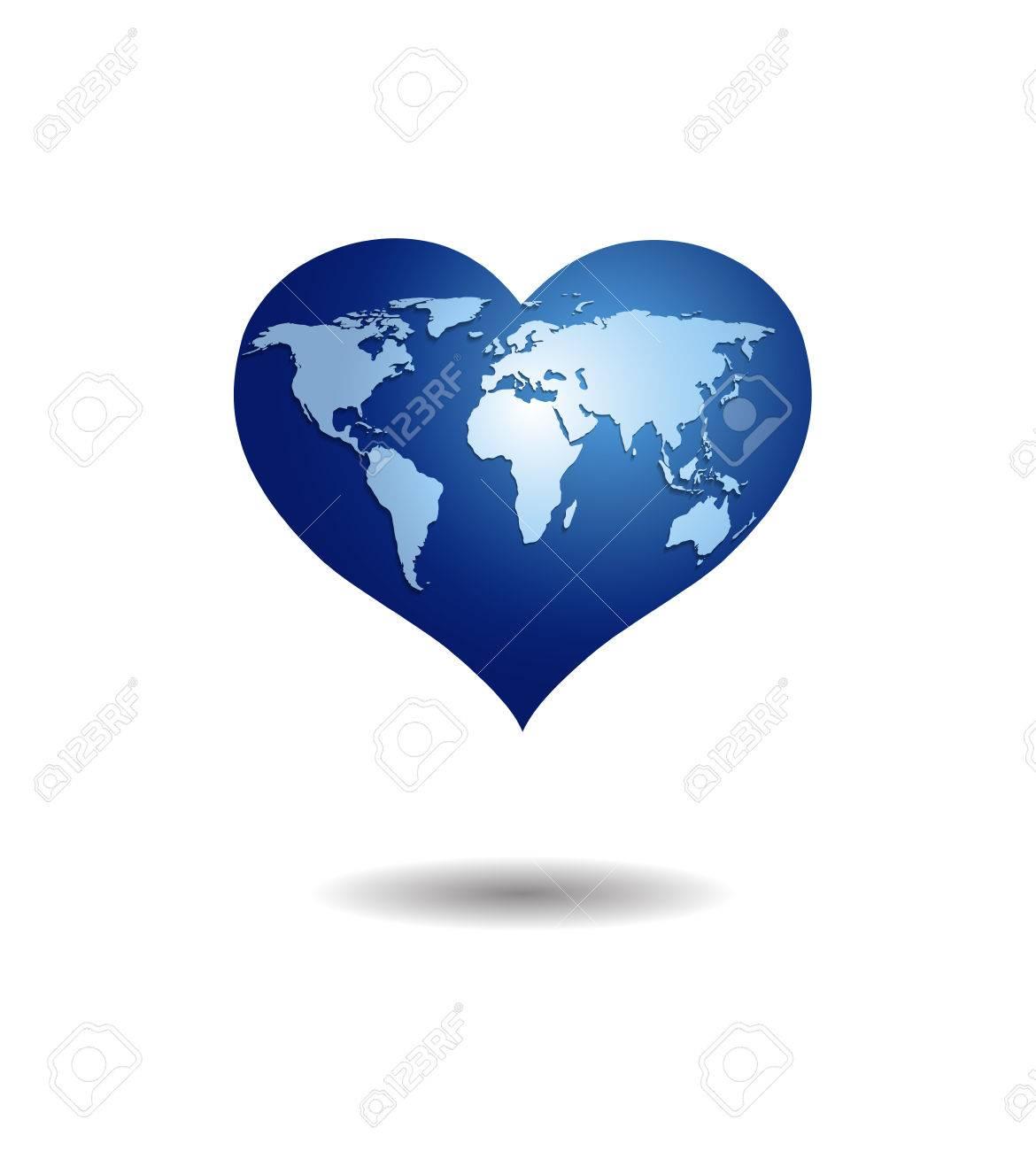 White world map on blue heart globeolated on white background vector white world map on blue heart globeolated on white background gumiabroncs Gallery