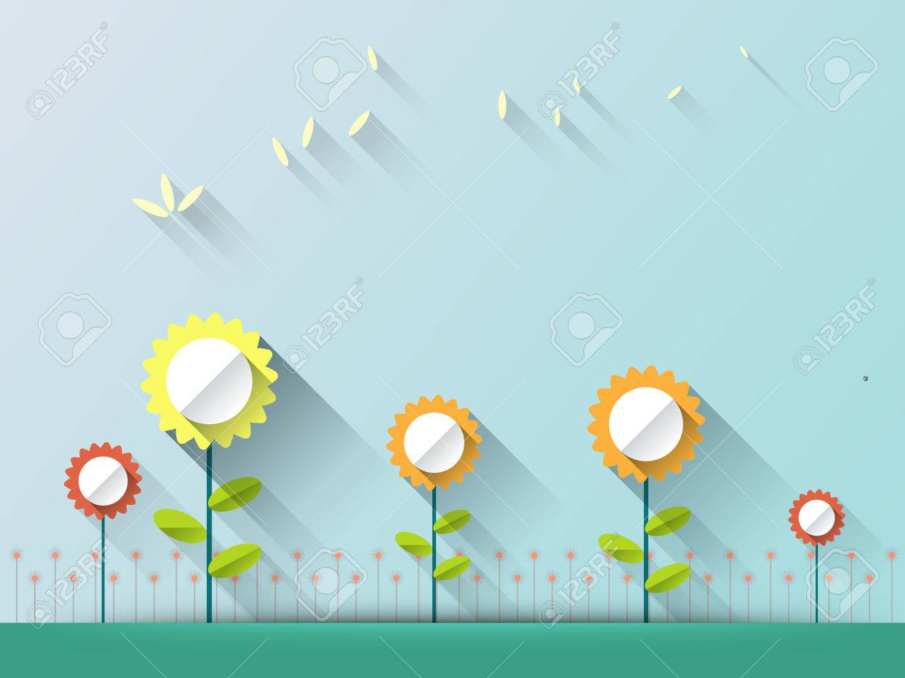 Abstract spring background with paper flowers flat design style abstract spring background with paper flowers flat design style on light blue background with space mightylinksfo