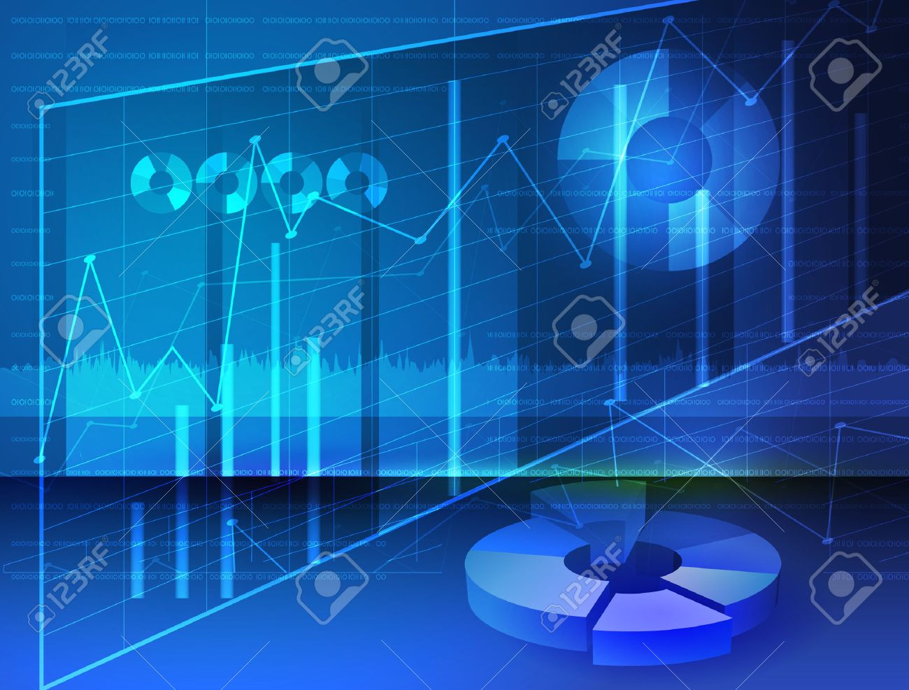 Abstract Diagrams,Stock media Image digital graphs with blue background - 42337974