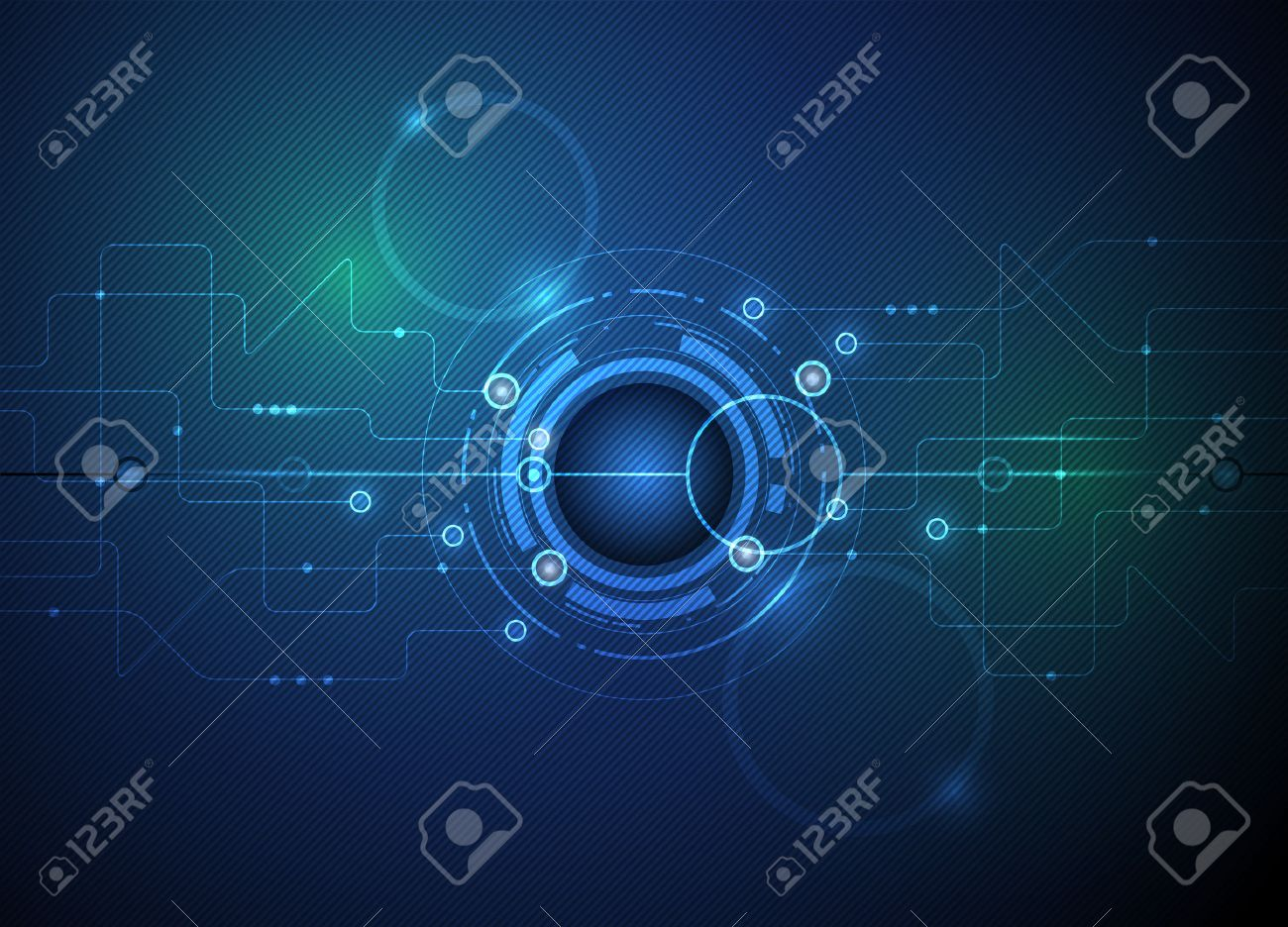 Vector illustration Abstract futuristic eyeball on circuit board, high computer technology green and blue color background - 42341676
