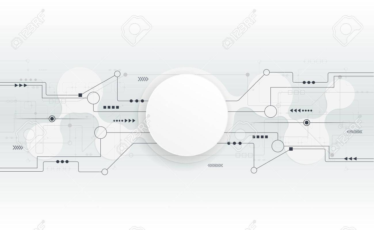 Vector Illustration Abstract Futuristic Circuit Board Hi Tech Blank Computer Digital Technology White Paper Circle For Your Design On Light Grey