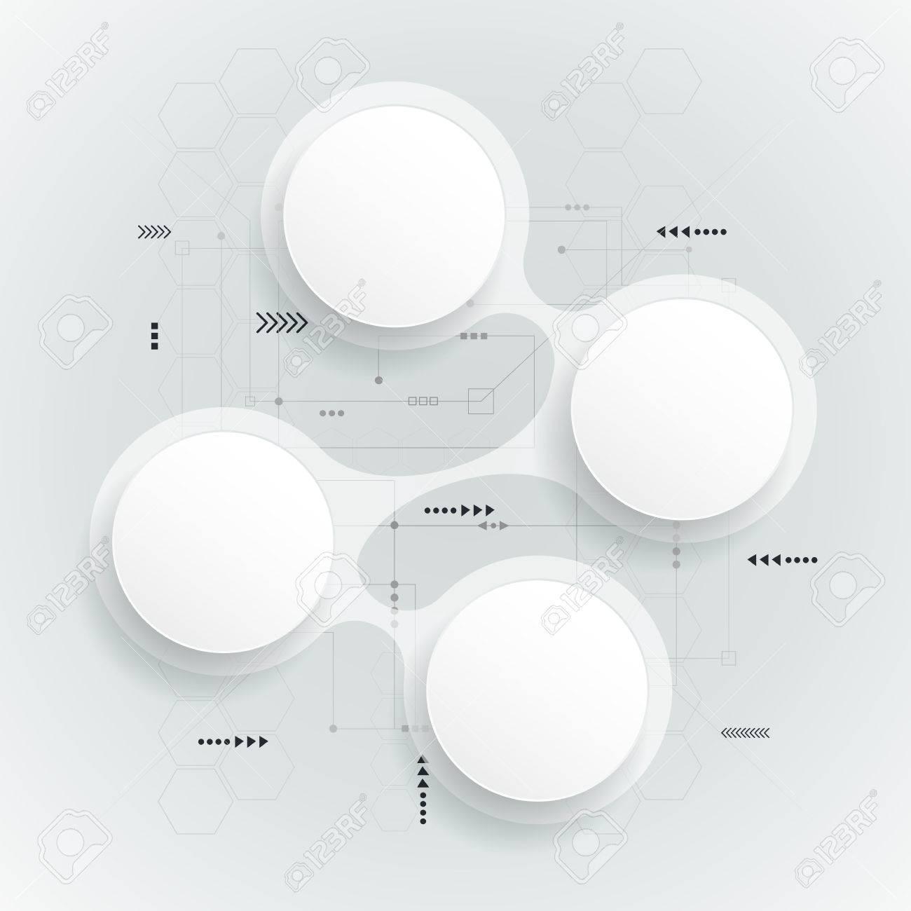 Abstract 3d Weißes Papier Kreis. Einfach Infografik Schrittweise ...