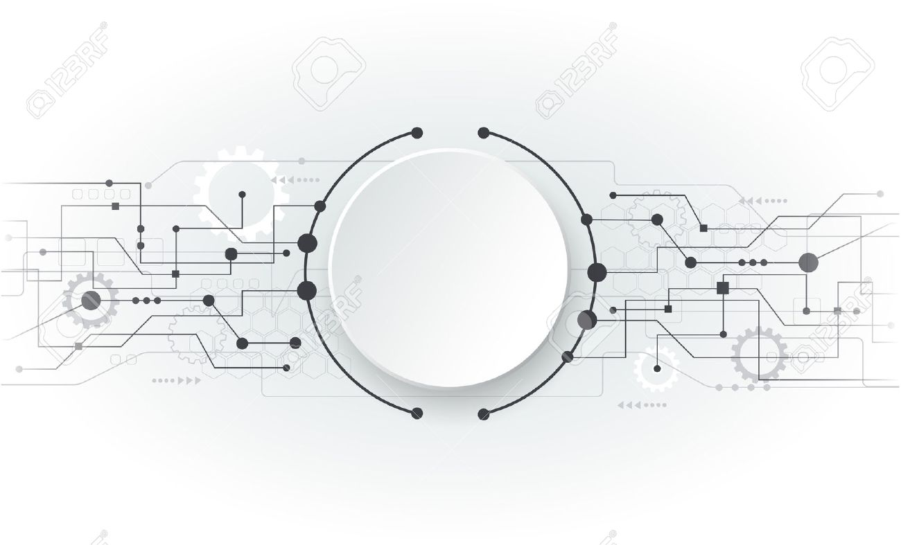 Vector illustration Abstract futuristic circuit board, hi-tech computer digital technology concept, Blank white 3d paper circle for your design on light grey color background - 42345573