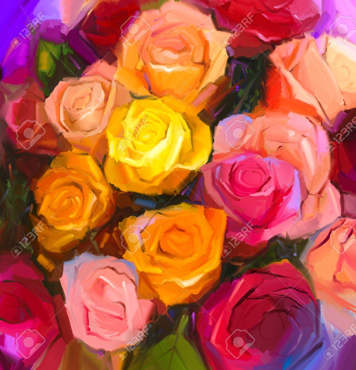 Todavía Vida De Las Flores De Color Amarillo Y Rojo La Pintura Al óleo De Un Ramo De Flores Color De Rosa Pintado A Mano Estilo Impresionista Floral Fotos Retratos Imágenes Y