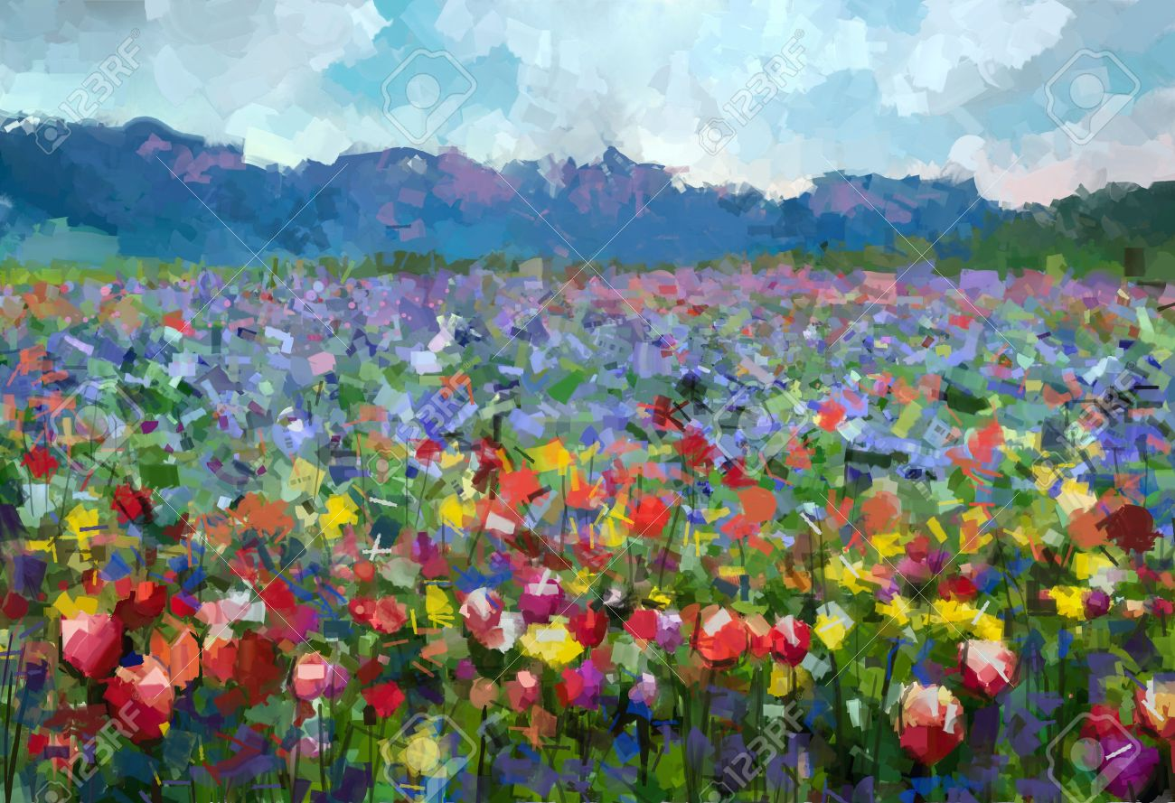 Oil painting Colorful spring summer rural landscape. Abstract Tulips flowers blossom in the meadow with hill and blue sky color background. Stock Photo - 43543451
