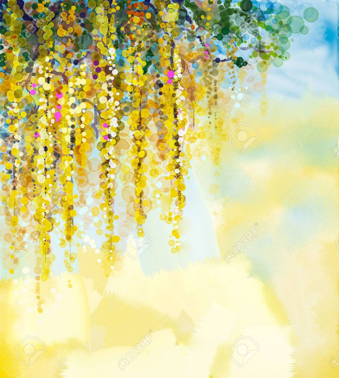 Abstract flowers watercolor painting spring yellow flowers wisteria abstract flowers watercolor painting spring yellow flowers wisteria with soft yellow and blue color background mightylinksfo