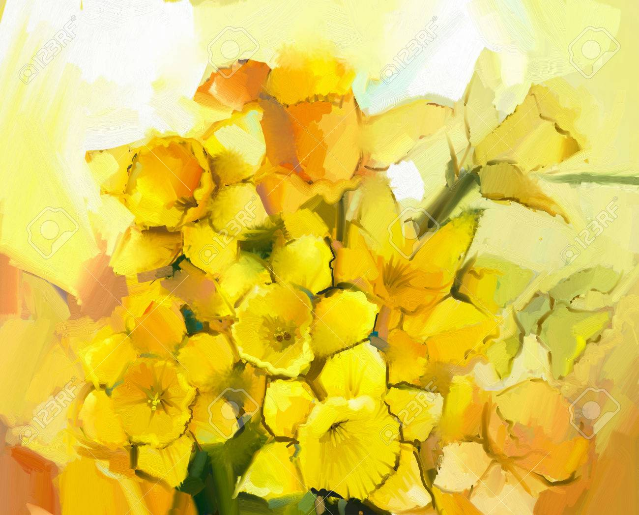 still life of yellow and orange color flowers. oil painting a