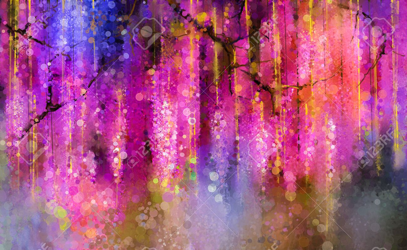 Abstract violet, red and yellow color flowers. Watercolor painting. Spring purple flowers Wisteria tree in blossom with bokeh background Stock Photo - 44016361