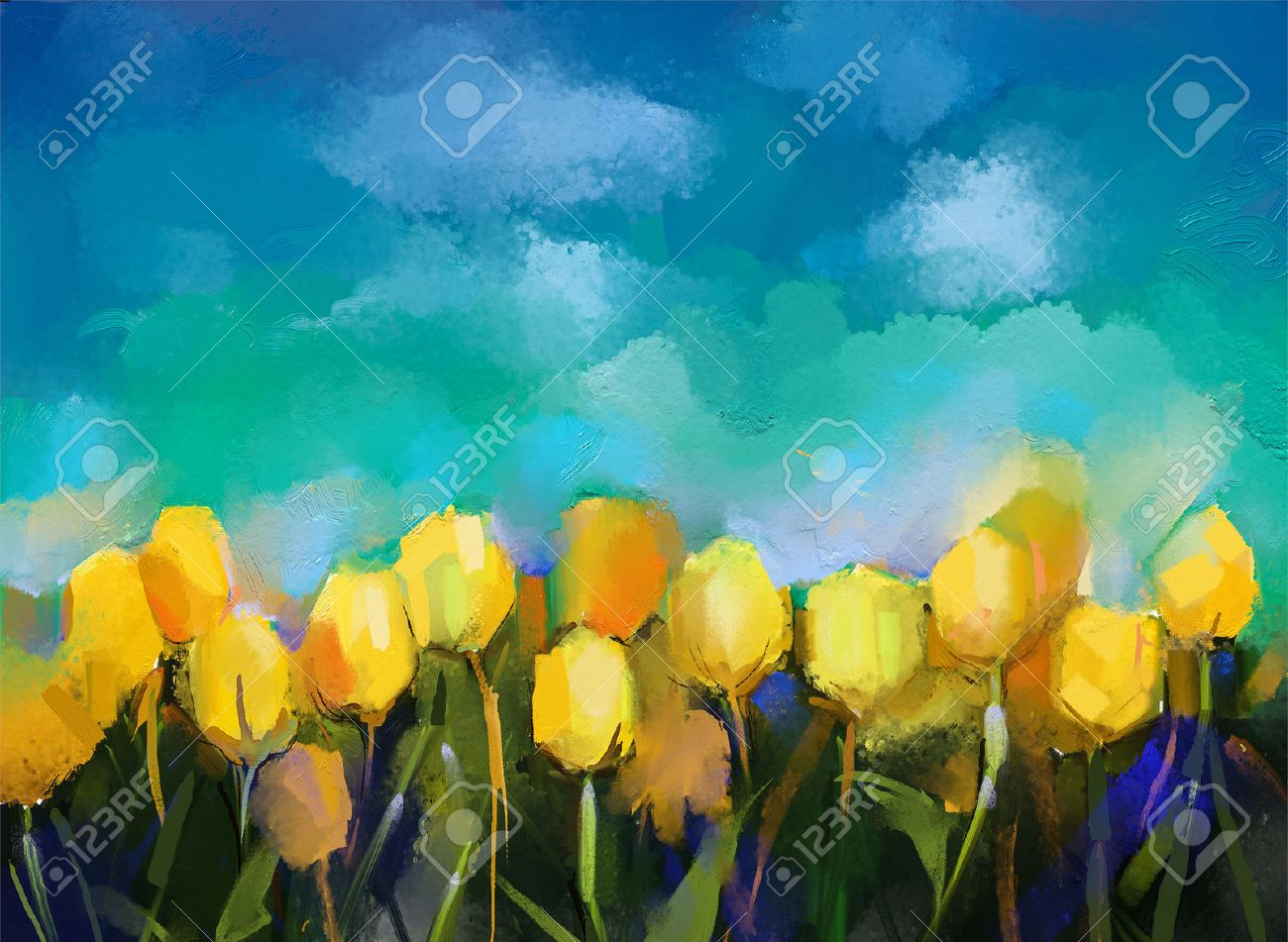 Tulips Flowers Oil Paintings Oil Paint Yellow Tulip Flower Field