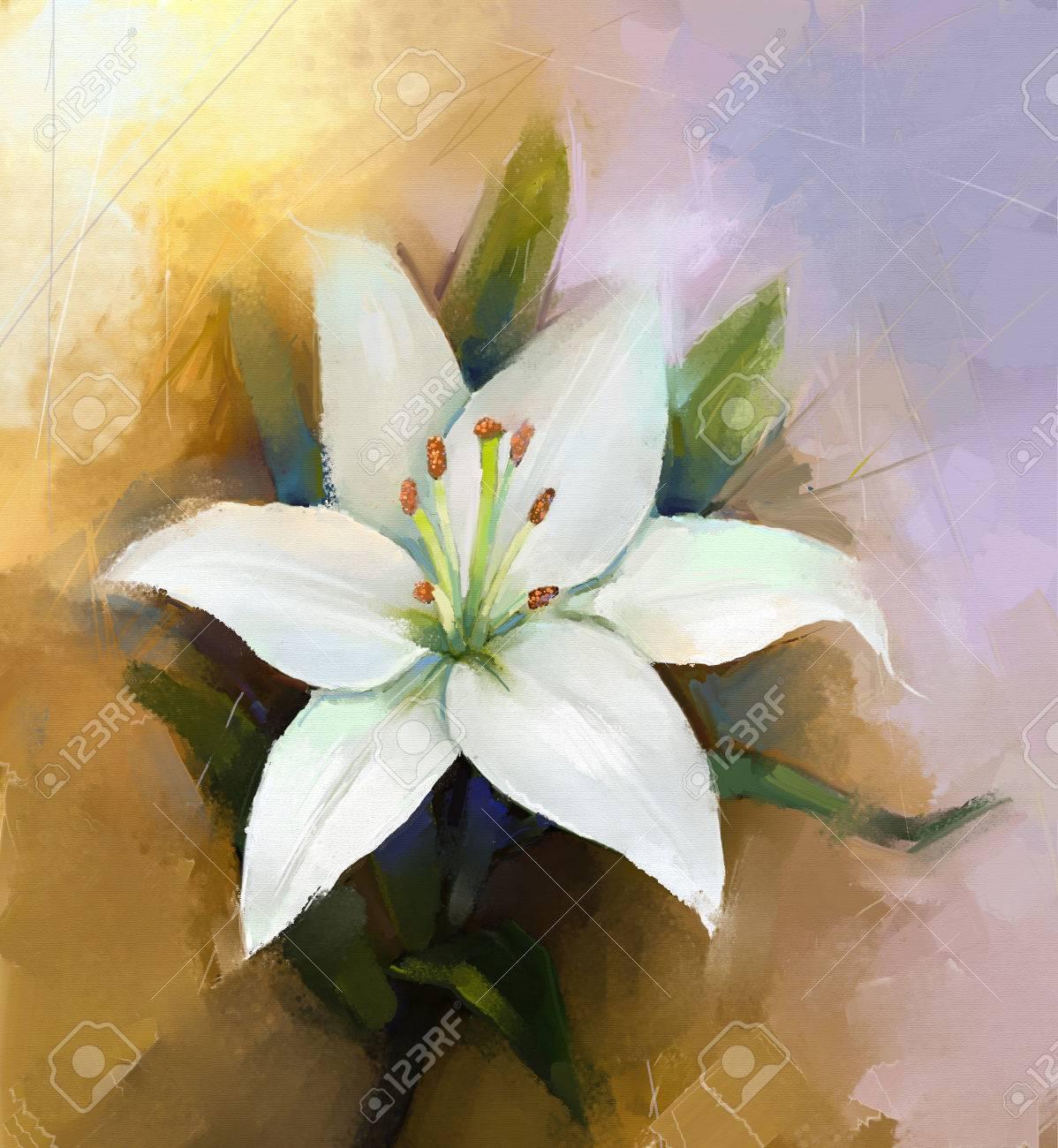 White lily flowerflower oil painting stock photo picture and stock photo white lily flowerflower oil painting izmirmasajfo