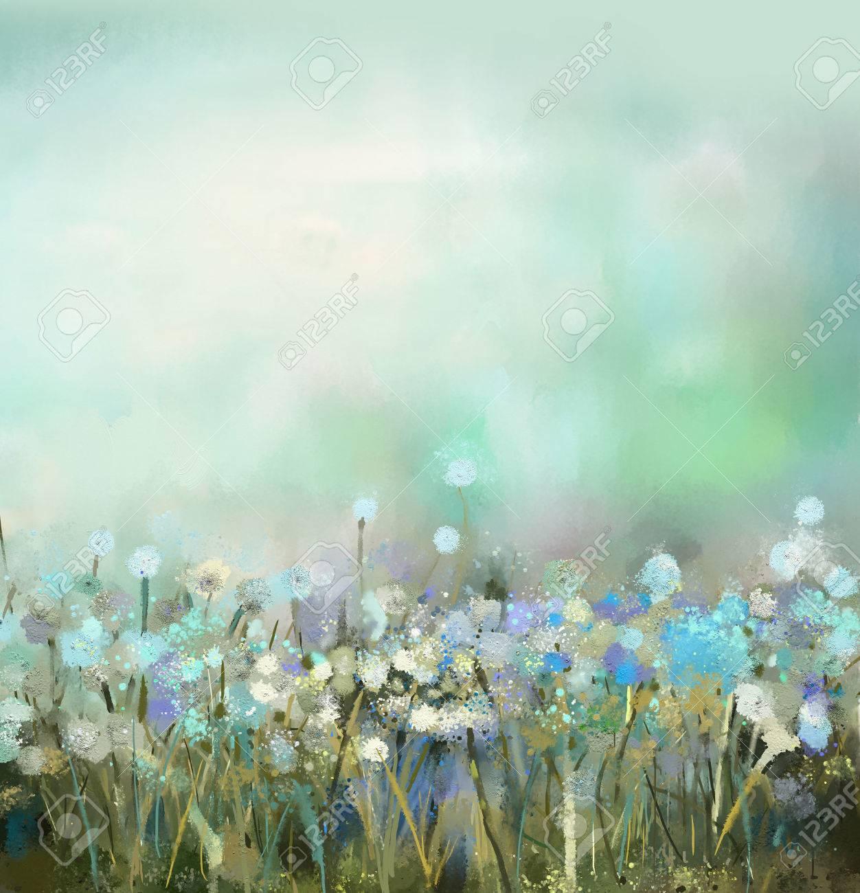 Dipinti Ad Olio Fiori Di Campo In Campo. Primavera Floreale ...