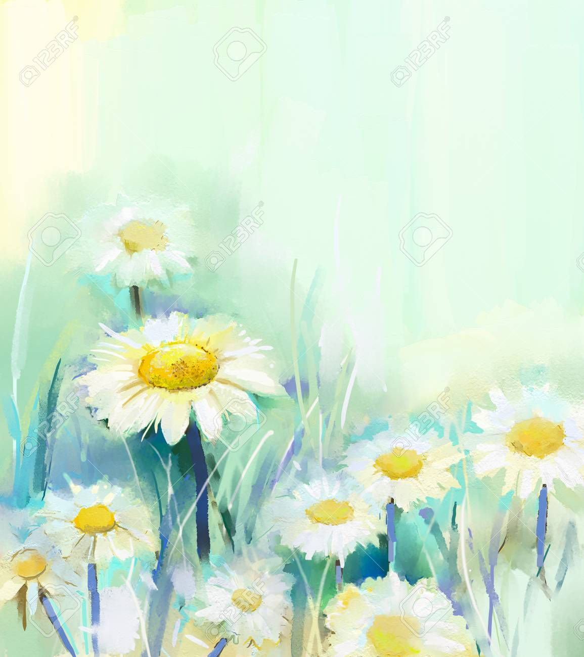 Oil painting daisy flowers in field hand paint white flowers oil painting daisy flowers in field hand paint white flowers daisy in soft color on mightylinksfo