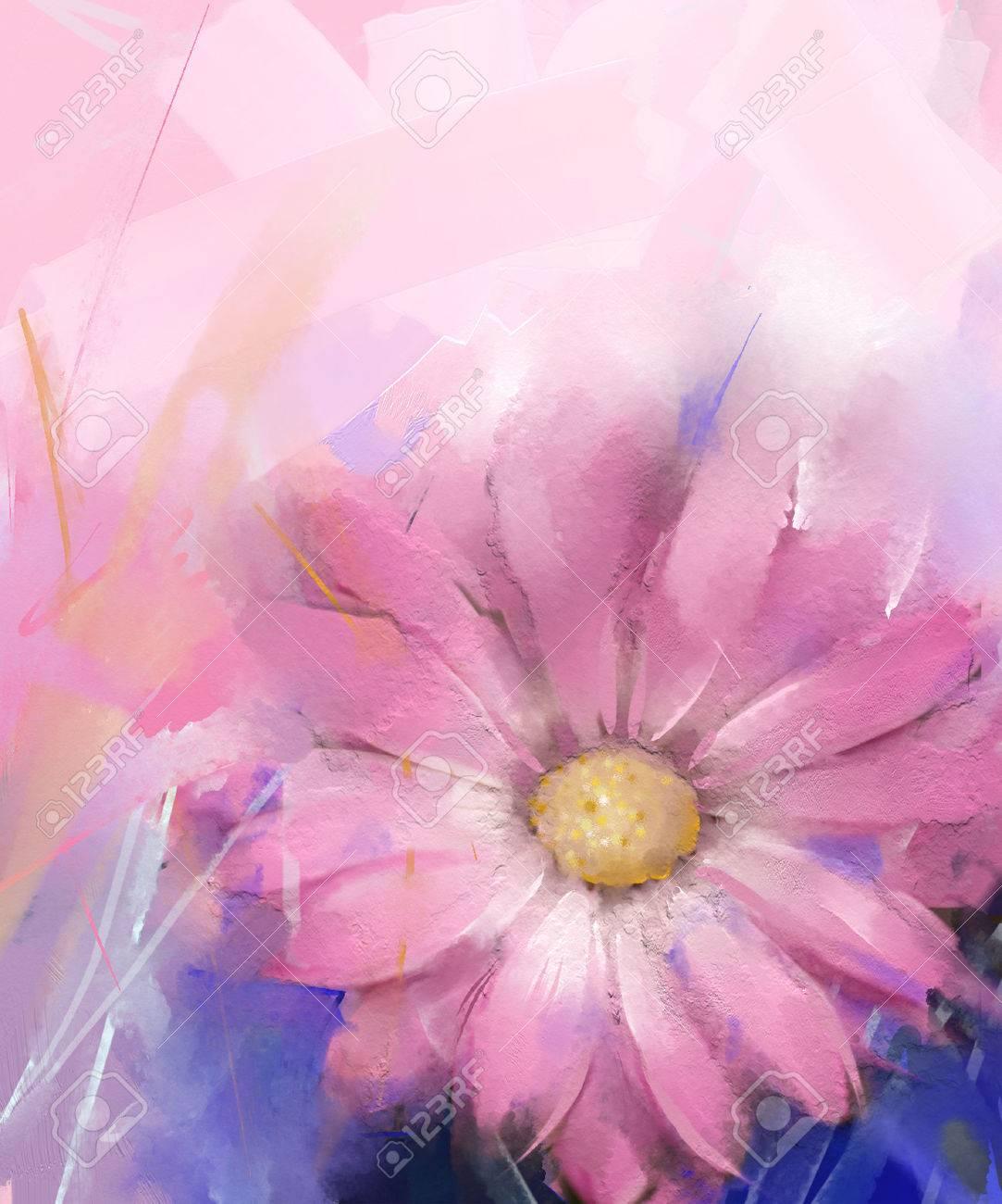 Fleur Rose Peinture A L Huile De Fleur De Gerbera Banque D Images