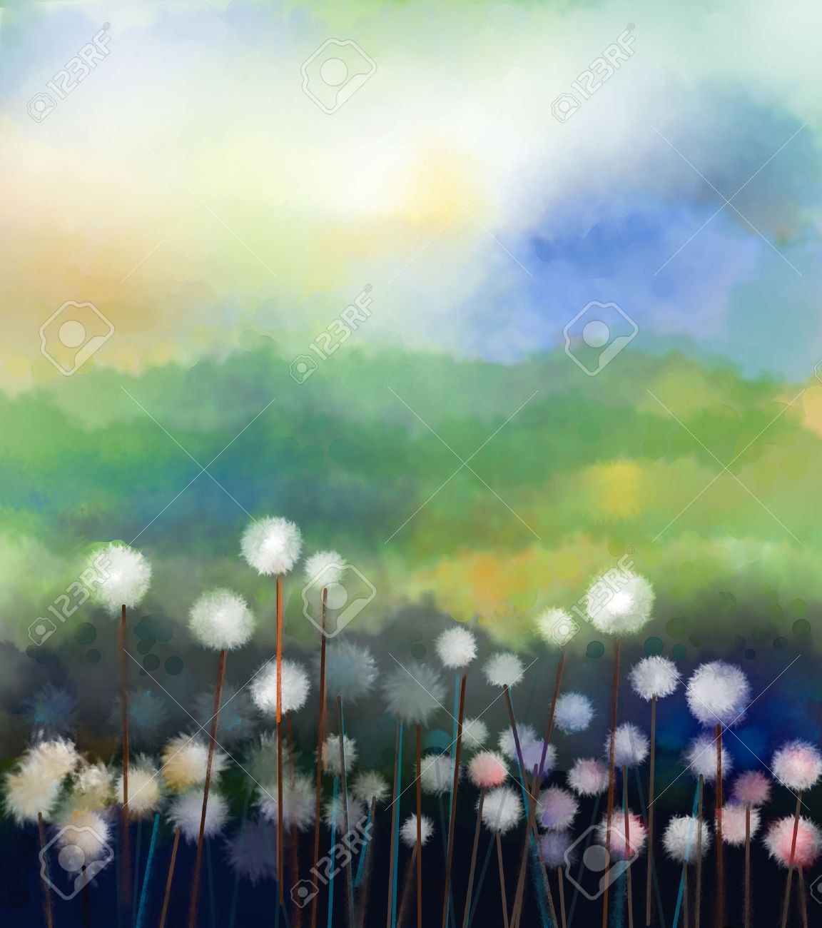 Abstract Oil Painting White Flowers Field In Soft Color Oil
