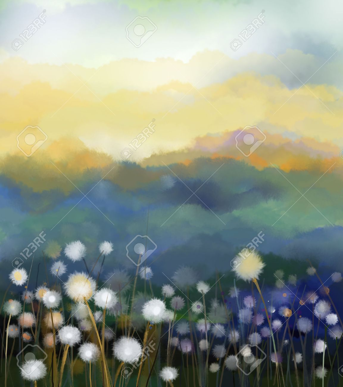 Abstract oil painting white flowers field in soft color oil stock abstract oil painting white flowers field in soft color oil paintings white dandelion flower in mightylinksfo