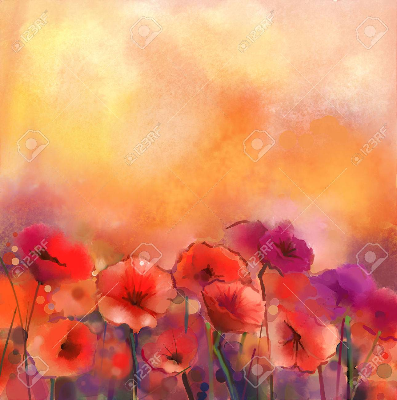Watercolor red poppy flowers painting. Flower paint in soft color and blur  style, Yellow