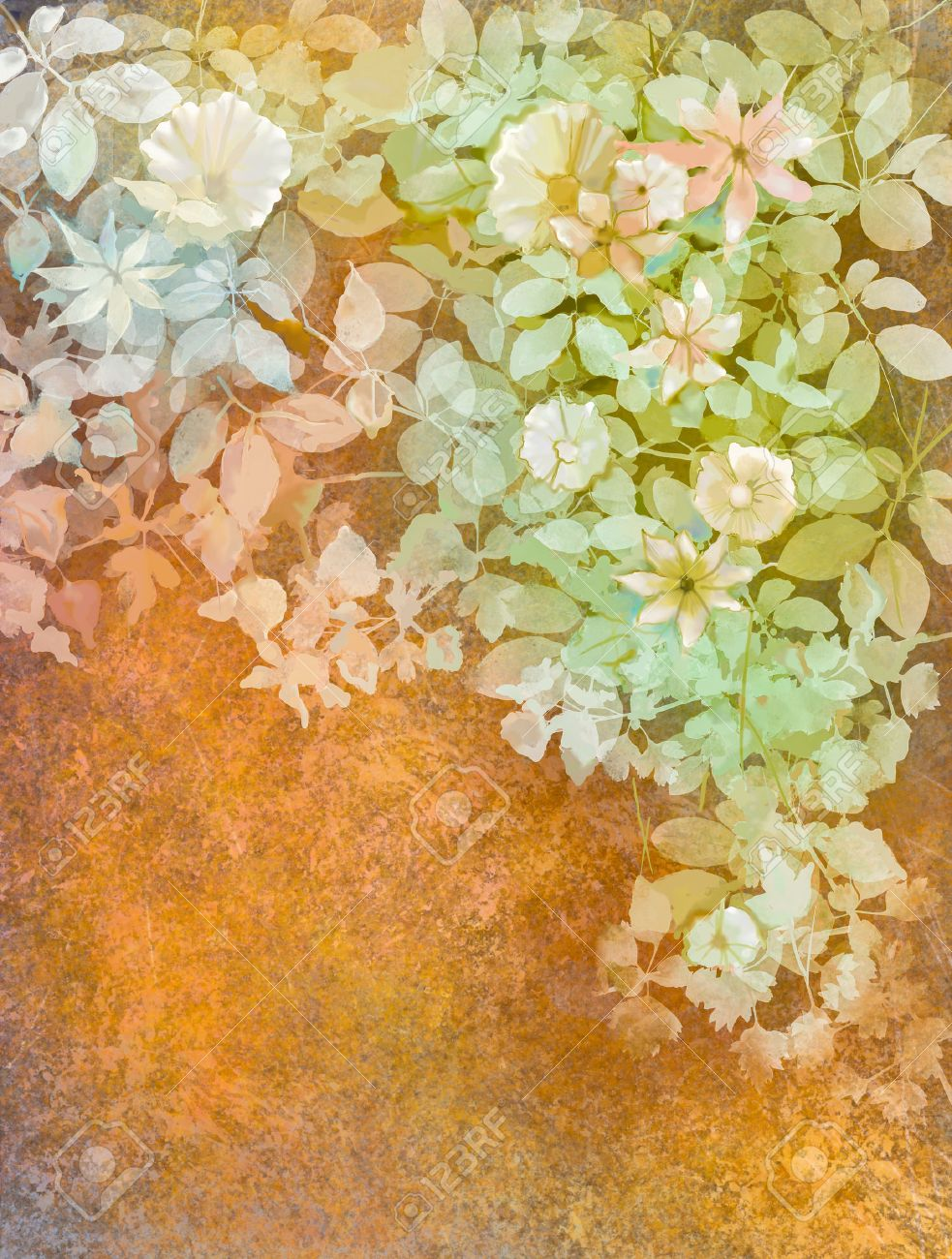 Watercolor Painting White Flowers And Soft Green Leaves Yellow