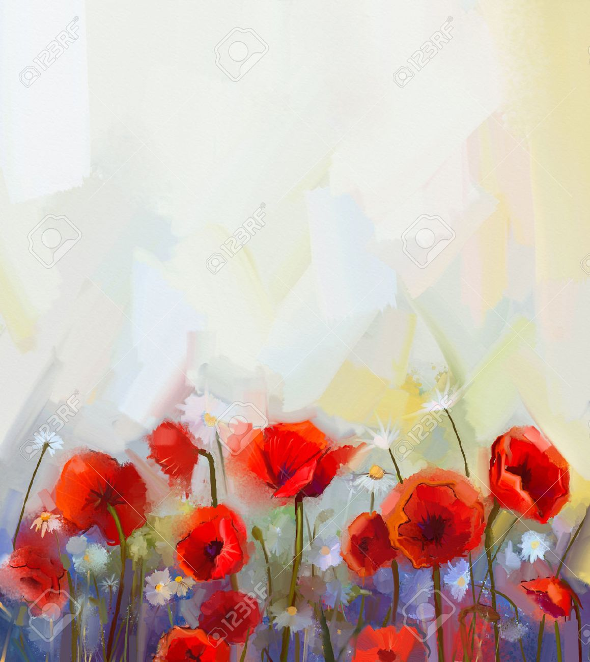 oil painting red poppy flowers spring floral nature background