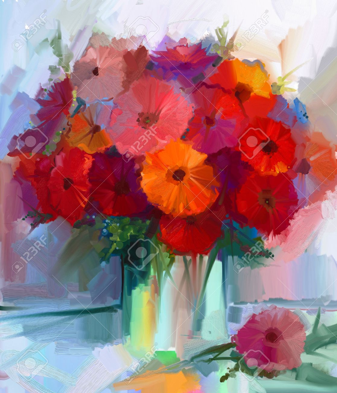 Still Life A Bouquet Of Flowers. Oil Painting Red Gerbera Flowers ...