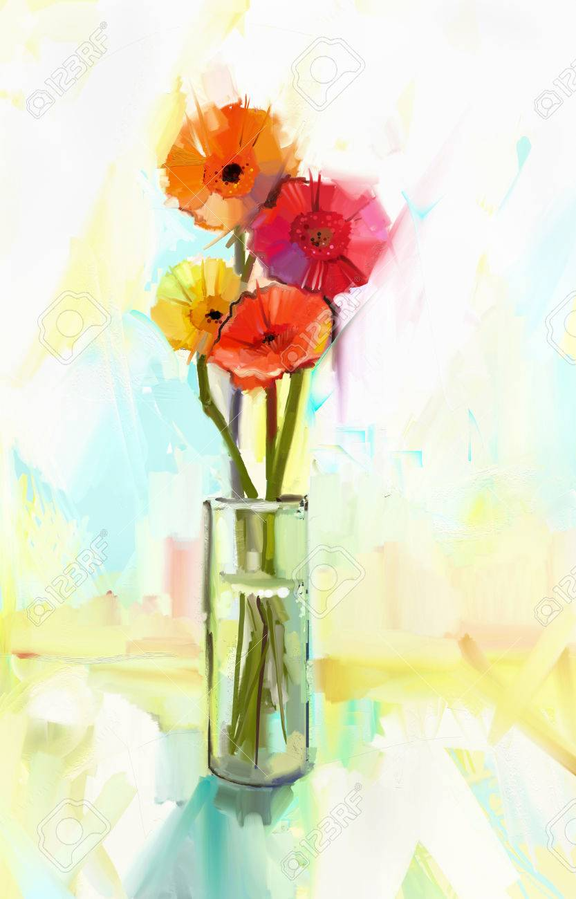 Abstract Oil Painting Of Spring Flowers . Still Life A Bouquet ... on