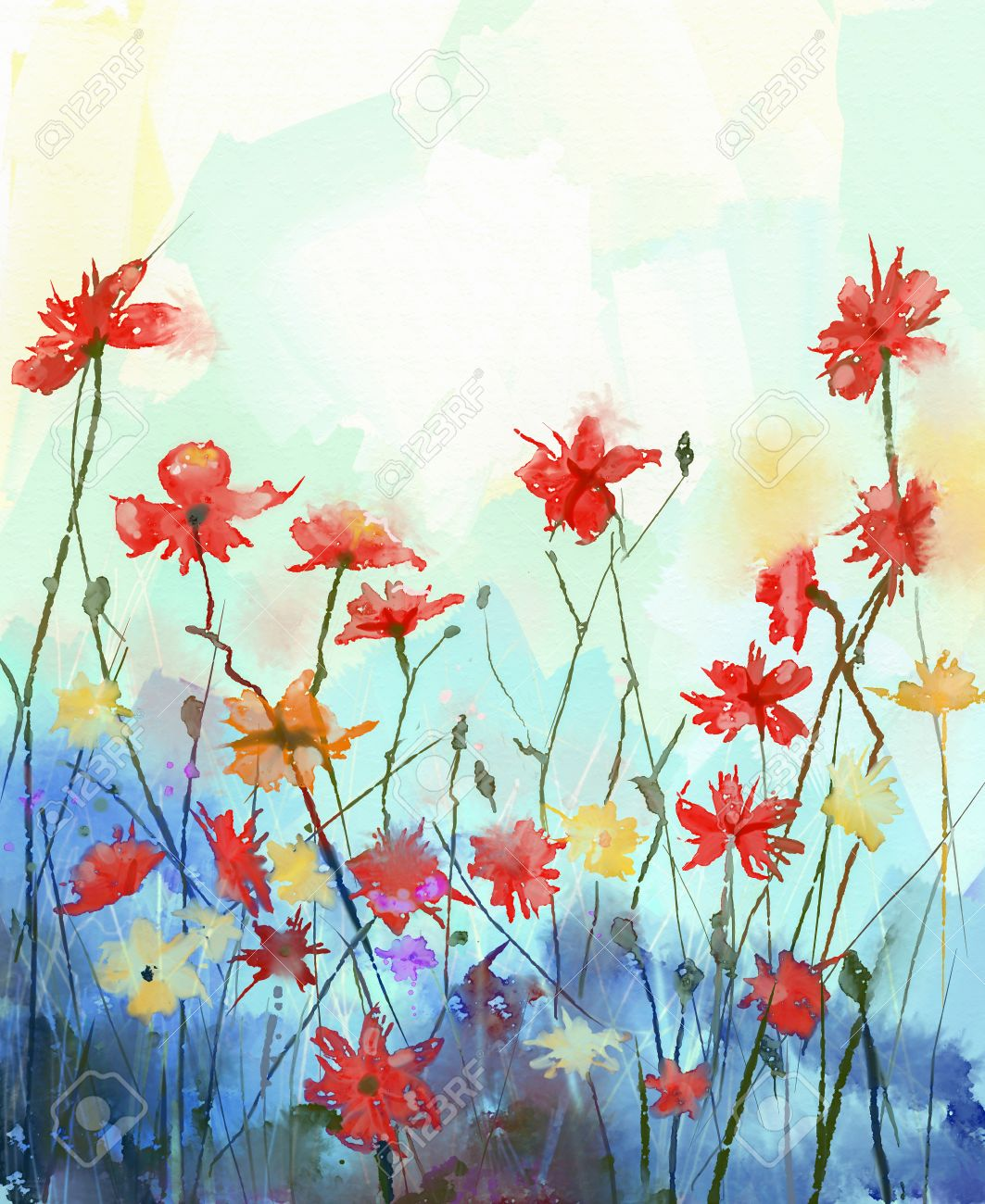 Color Painting watercolor flowers painting in soft color and blur style .vintage