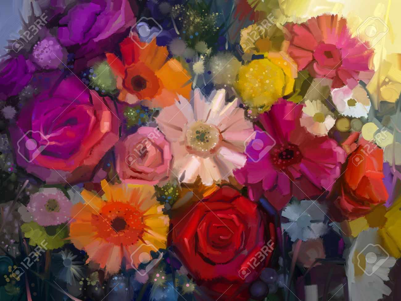 nature morte de jaune, rouge et rose fleur de couleur. peinture à