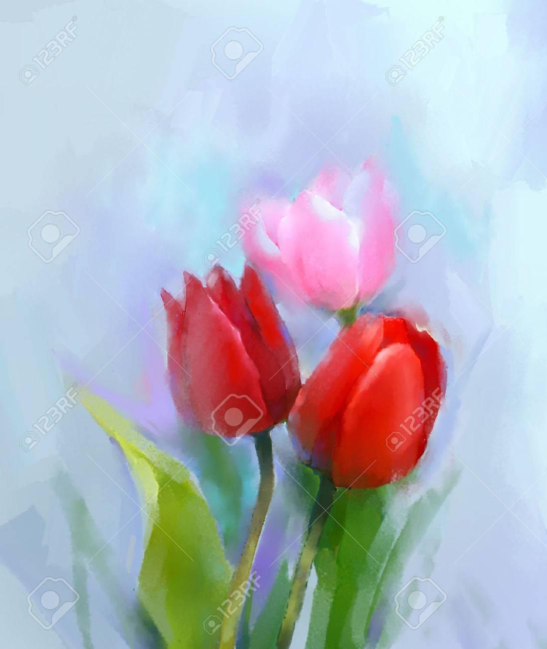 Peinture A L Huile Rose Et Rouge Fleur De Tulipe Avec Des Feuilles