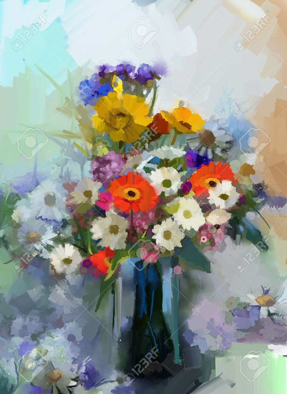 Vase With Still Life A Bouquet Of Flowers Oil Painting Stock Photo