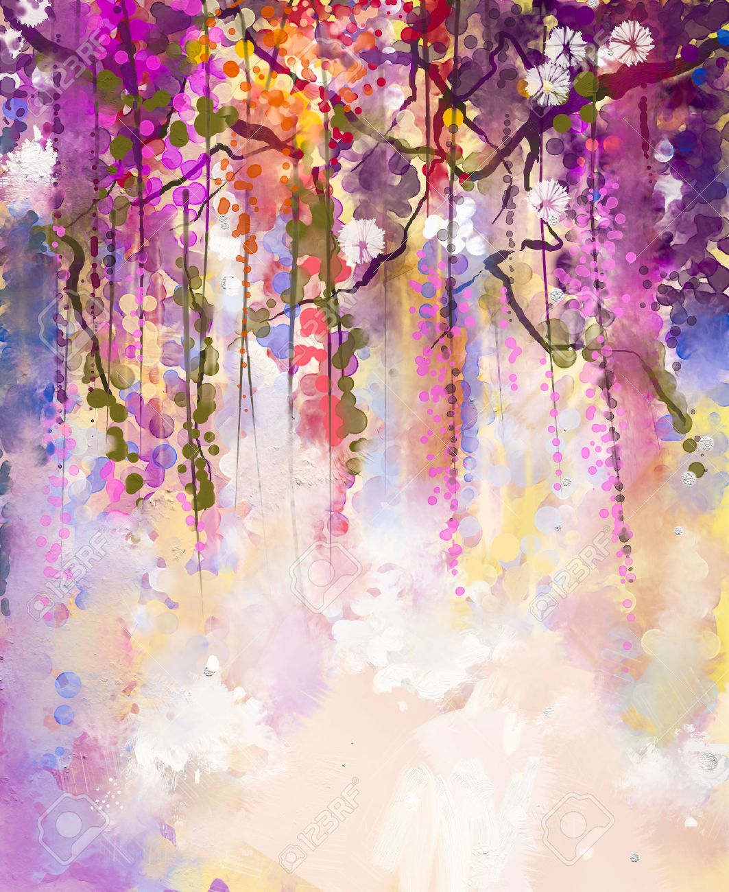 Abstract Flowers Watercolor Painting Spring Purple Flowers Wisteria