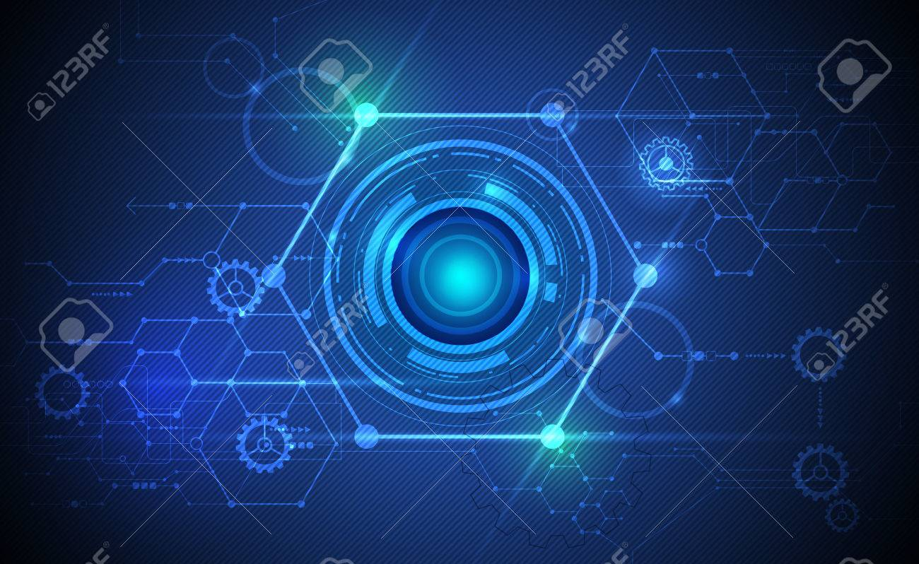Vector Abstract Futuristic Eyeball On Circuit Board Illustration Imagens High Computer Technology Green And Blue Color Background