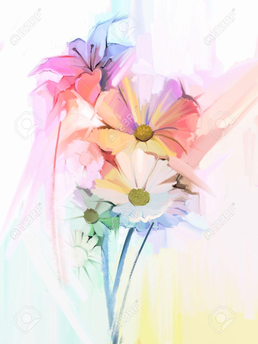 Bodegon De Flores De Color Blanco Con Rosa Suave Y Purpura Pintura