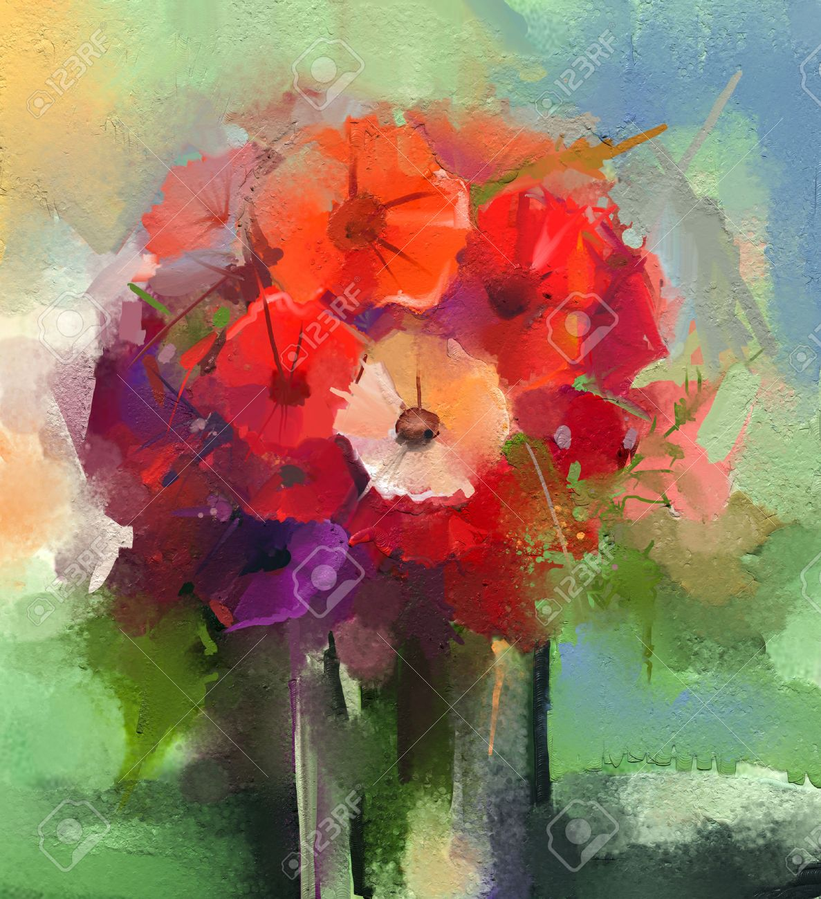 123RF.com & Abstract Oil paintings a bouquet of gerbera flowers in vase...