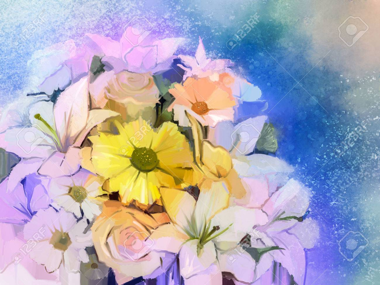 Oil painting soft colorful bouquet of rose daisy lily and gerbera banco de imagens oil painting soft colorful bouquet of rose daisy lily and gerbera flower hand painted floral still life of white color flowers with izmirmasajfo