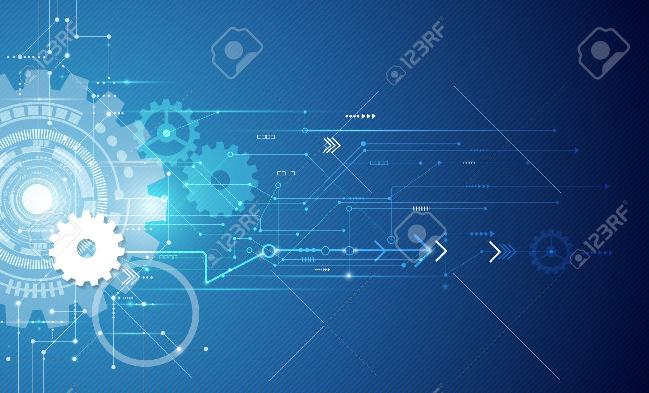 Vector illustration white gear wheel on circuit board, Hi-tech digital technology and engineering, digital telecoms technology concept, Abstract futuristic- technology on blue color background - 45113861
