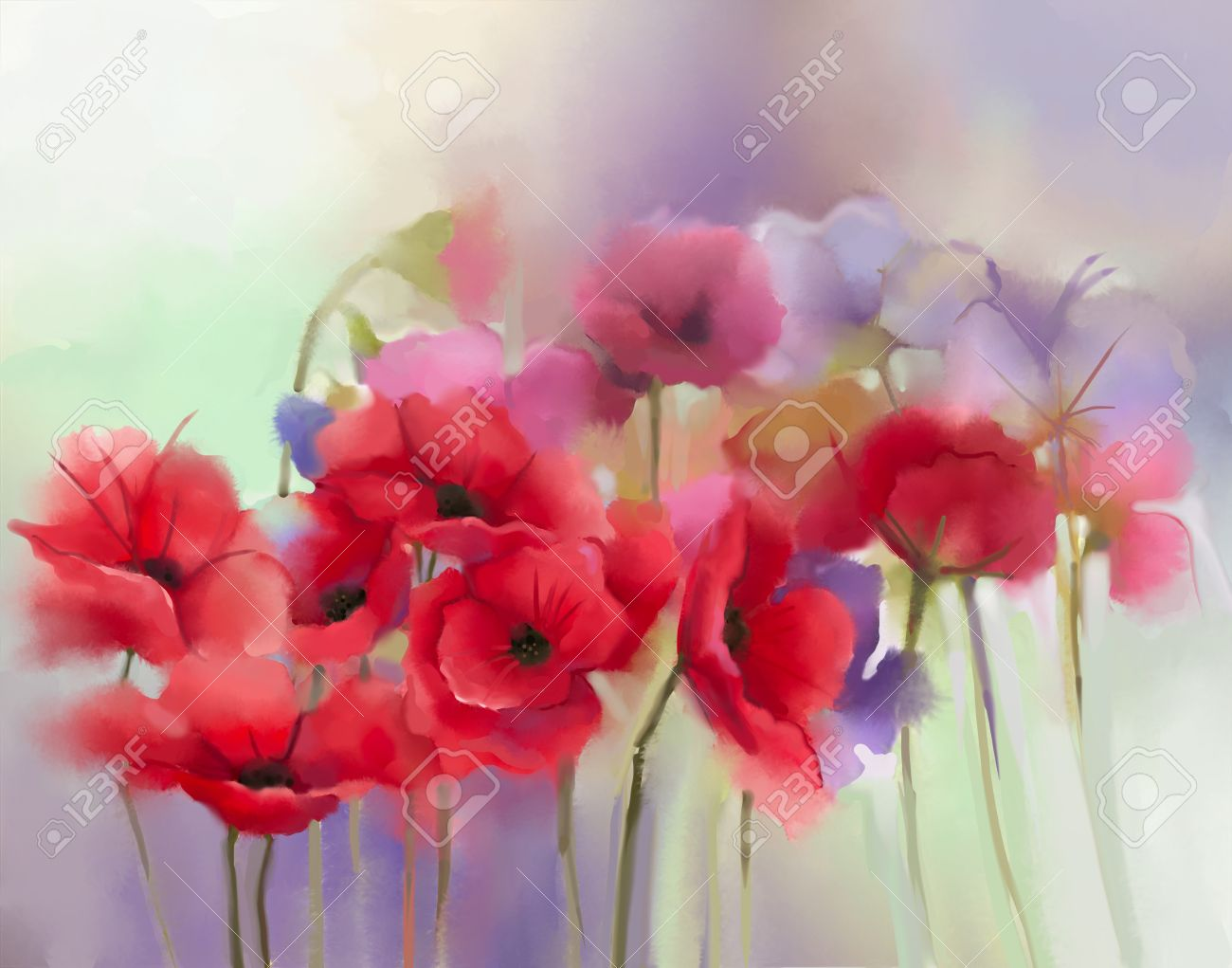 Watercolor red poppy flowers painting flower paint in soft color stock photo watercolor red poppy flowers painting flower paint in soft color and blur style soft green and pupple background mightylinksfo