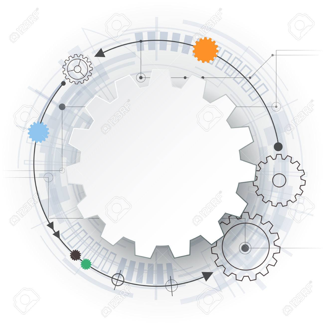 Vector Futuristic Technology 3d White Paper Gear Wheel On Circuit Board Illustration Hi