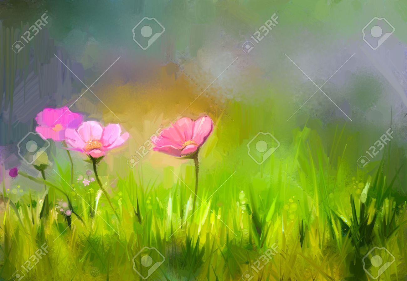 Peinture A L Huile Fleurs Nature Herbe Peinture A La Main Close Up