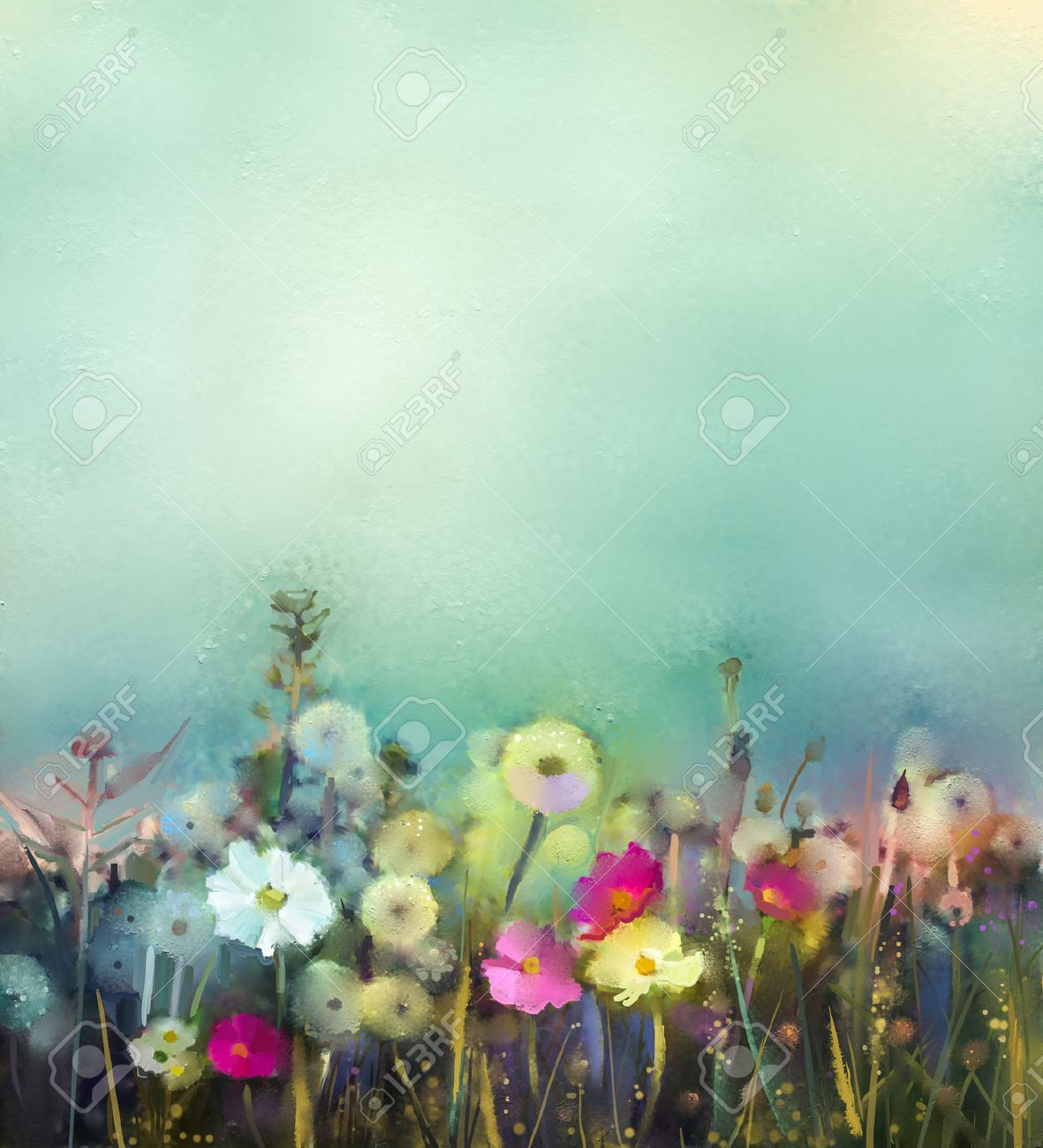Poppy flower field at night royalty free stock photography image - Oil Painting Flowers Dandelion Poppy Daisy In Fields Hand Paint Wildflowers Field In