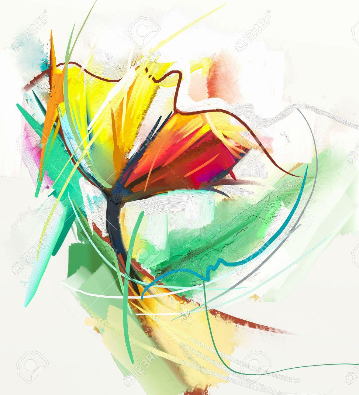 Abstraktes Olgemalde Von Fruhlingsblumen Stillleben Von Gelben Und Roten Farbe Flowe Abstrakte Moderne Impressionisten Blumen Kunst Malerei Blumen Dekorative Malerei Lizenzfreie Fotos Bilder Und Stock Fotografie Image 46034723