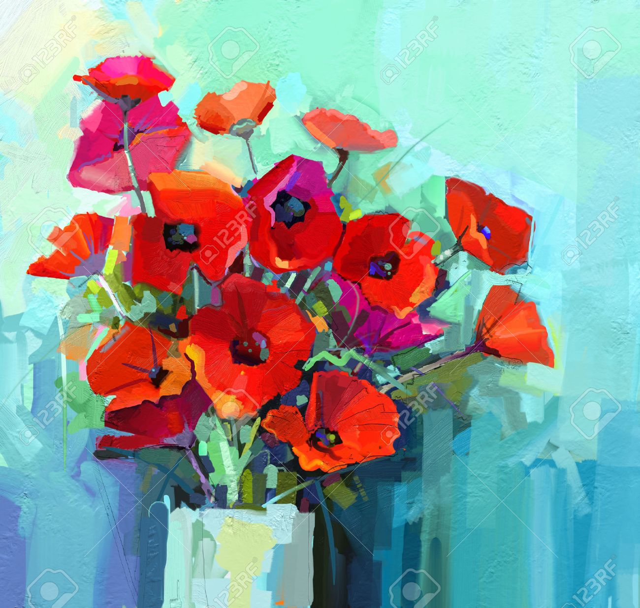 Oil Painting - Still life of red and pink color flower. Colorful Bouquet of poppy flowers in vase. Color green and blue background. Hand Paint floral Impressionist style. - 46809205