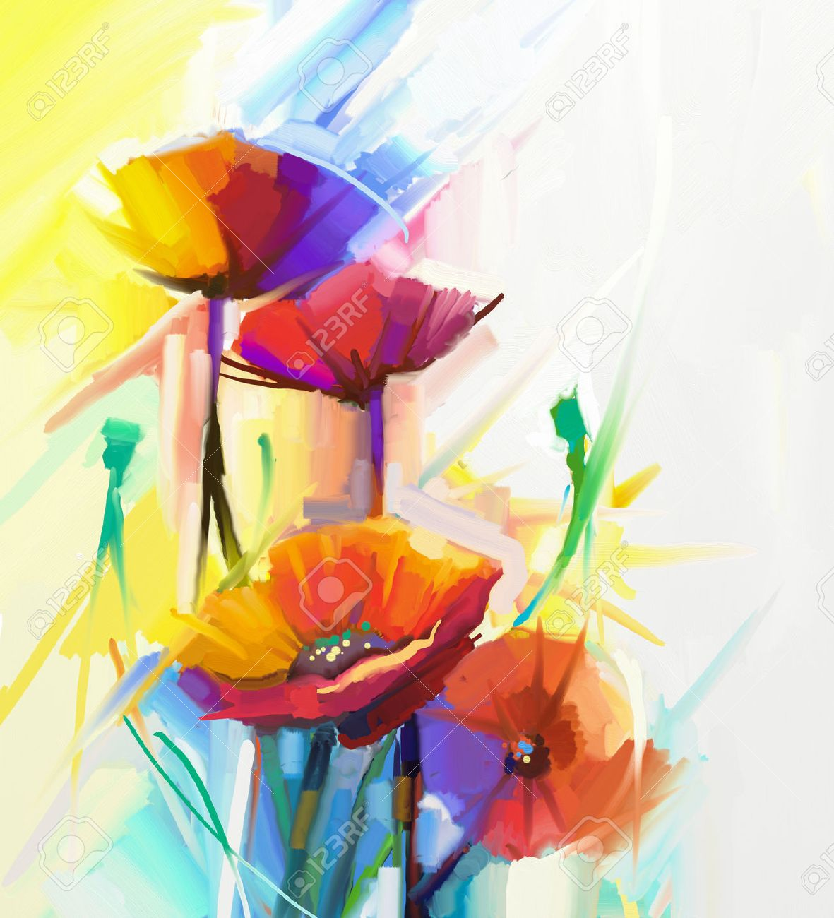Abstract Oil Painting Of Spring Flower Still Life Yellow Pink And Red Poppy