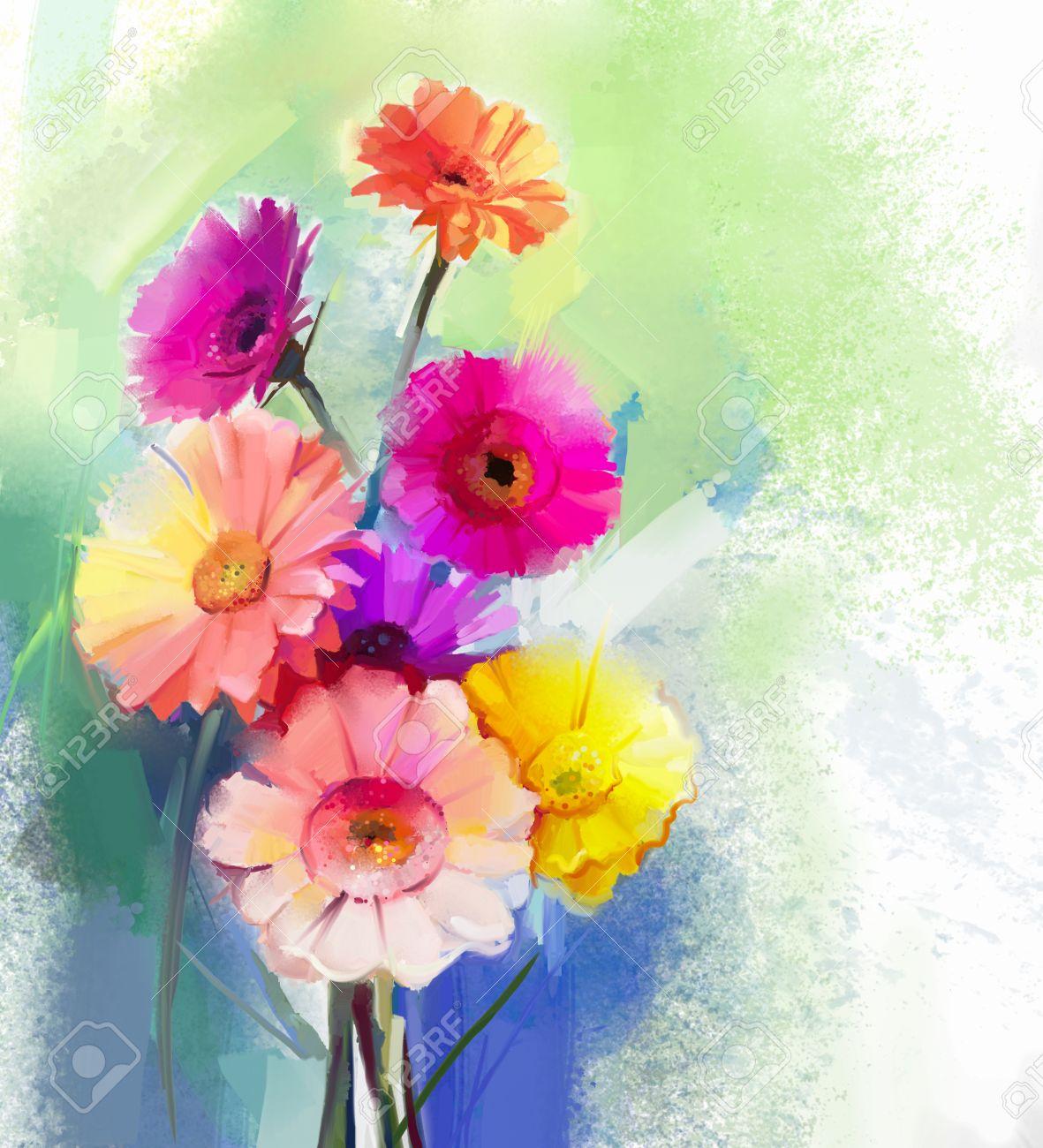 Connu Peinture à L'huile Abstraite De Fleur De Printemps. Nature Morte  QP55