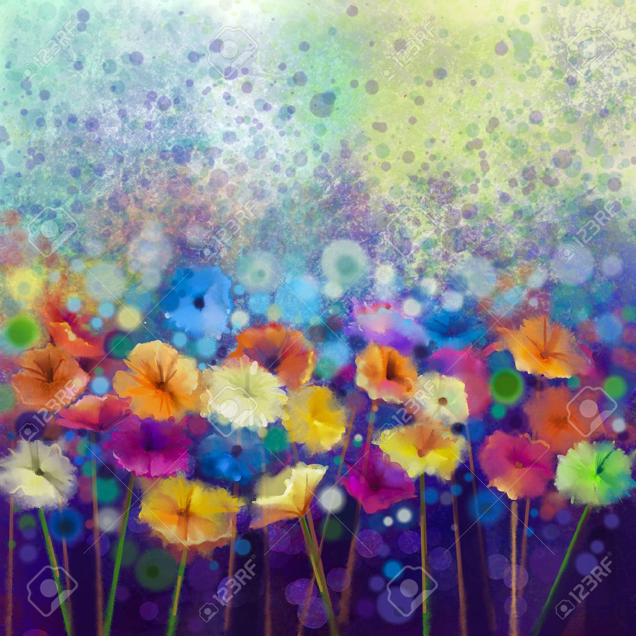 Abstract floral watercolor painting. Hand paint White, Yellow, Pink and Red color of daisy- gerbera flowers in soft color on blue- green color background.Spring flower seasonal nature background - 47943006