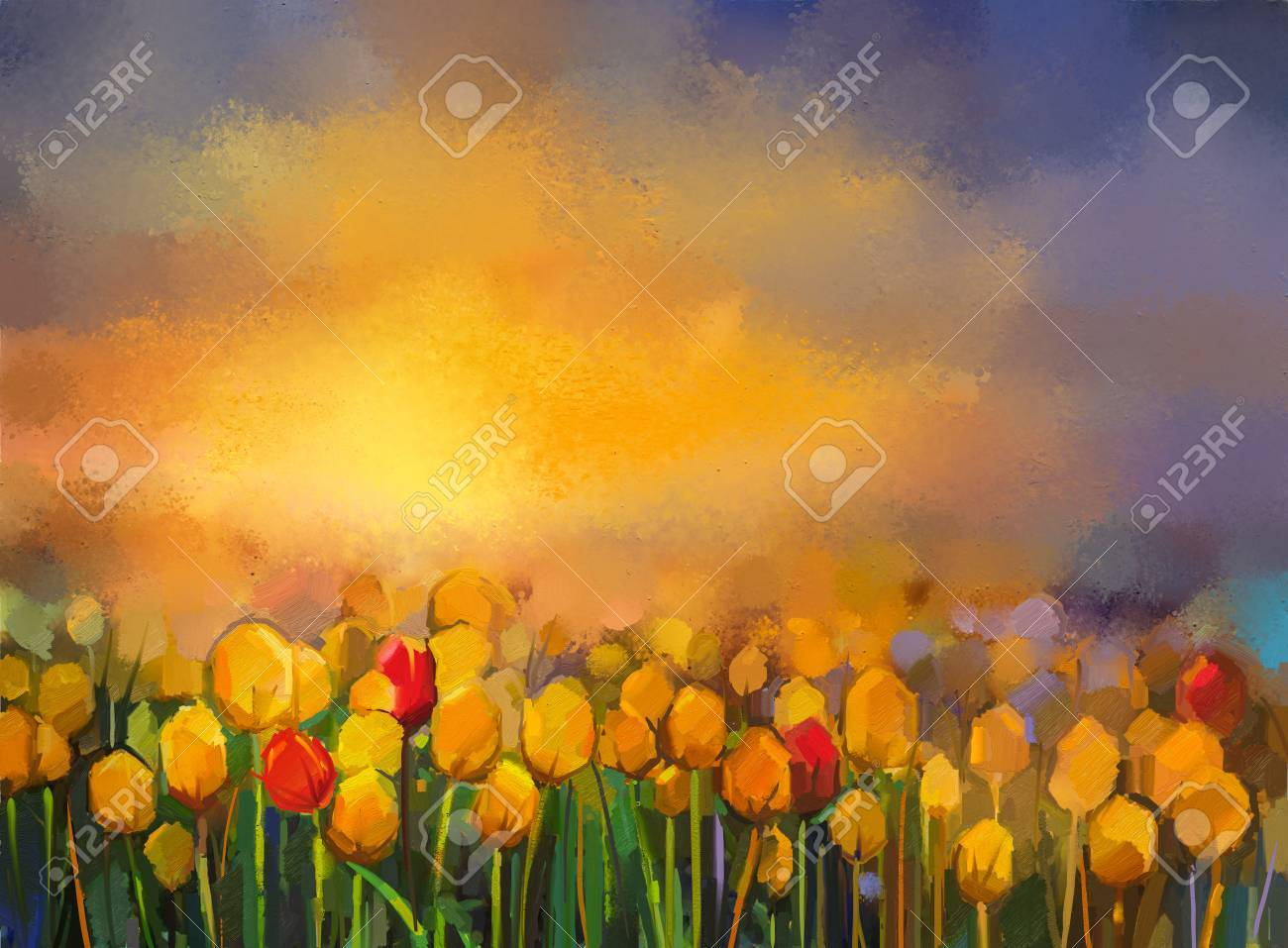 Oil Painting Yellow And Red Tulips Flowers Field Landscape