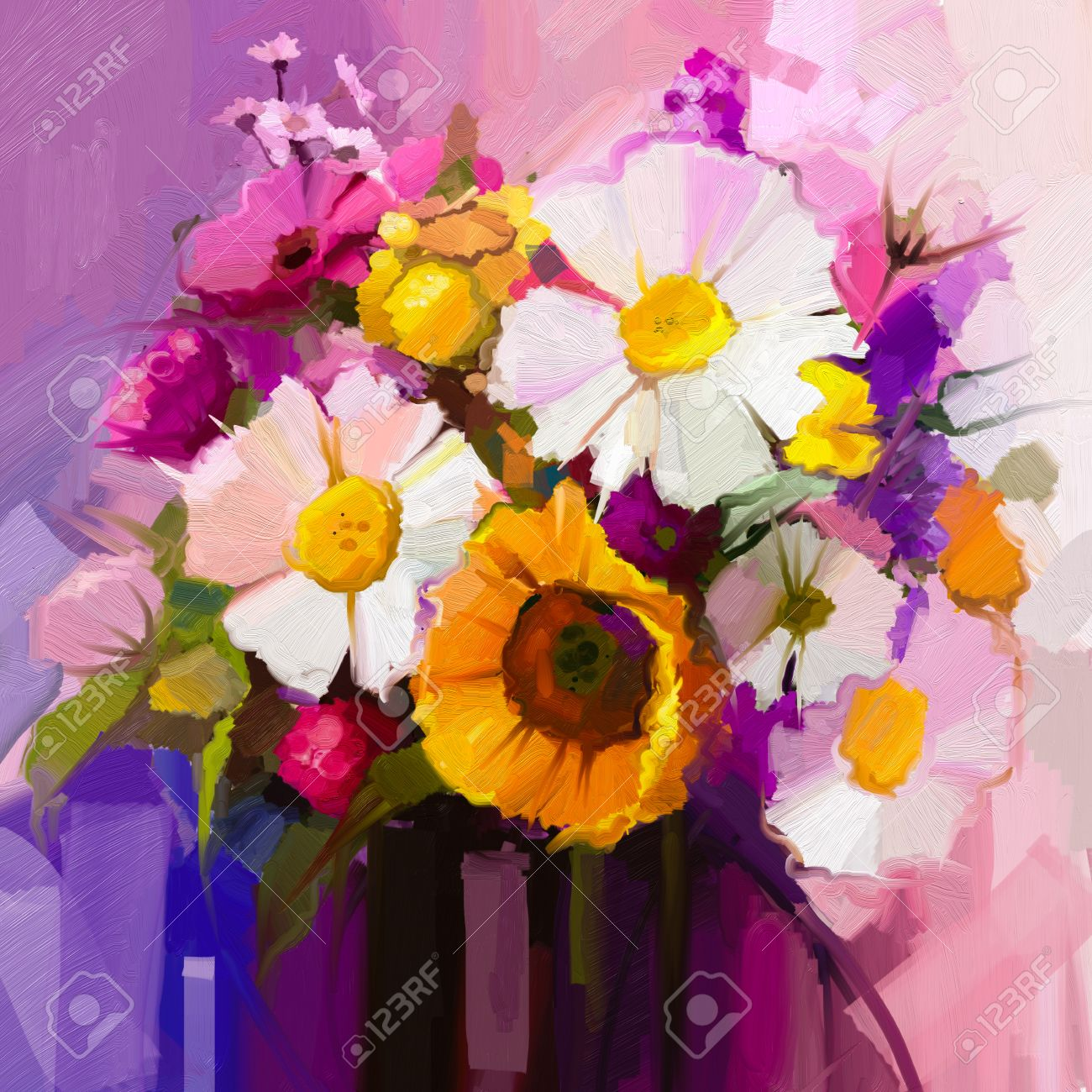 Oil Painting Still Life Of White Yellow And Red Flower Hand