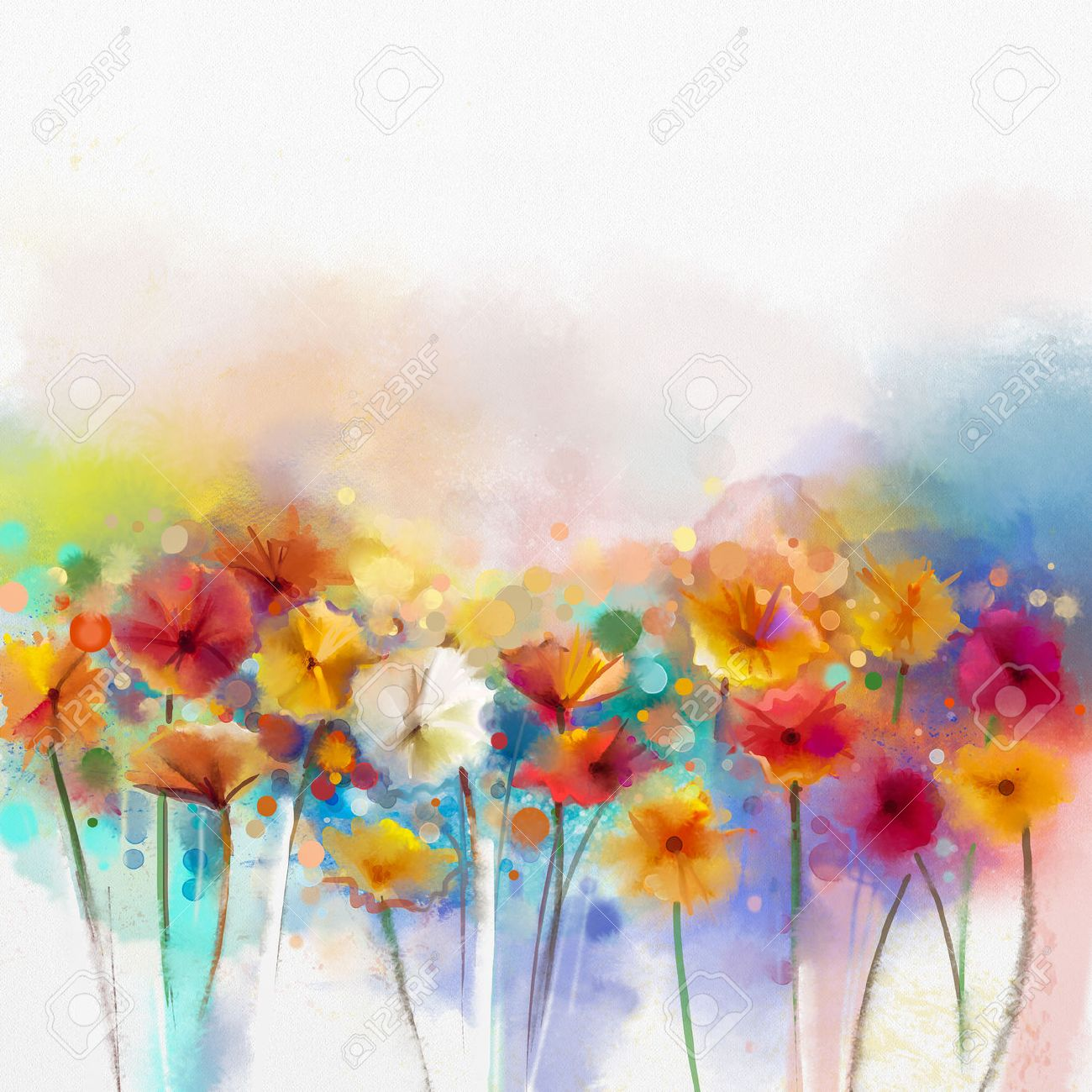 Painting Color abstract floral watercolor painting. hand paint white, yellow