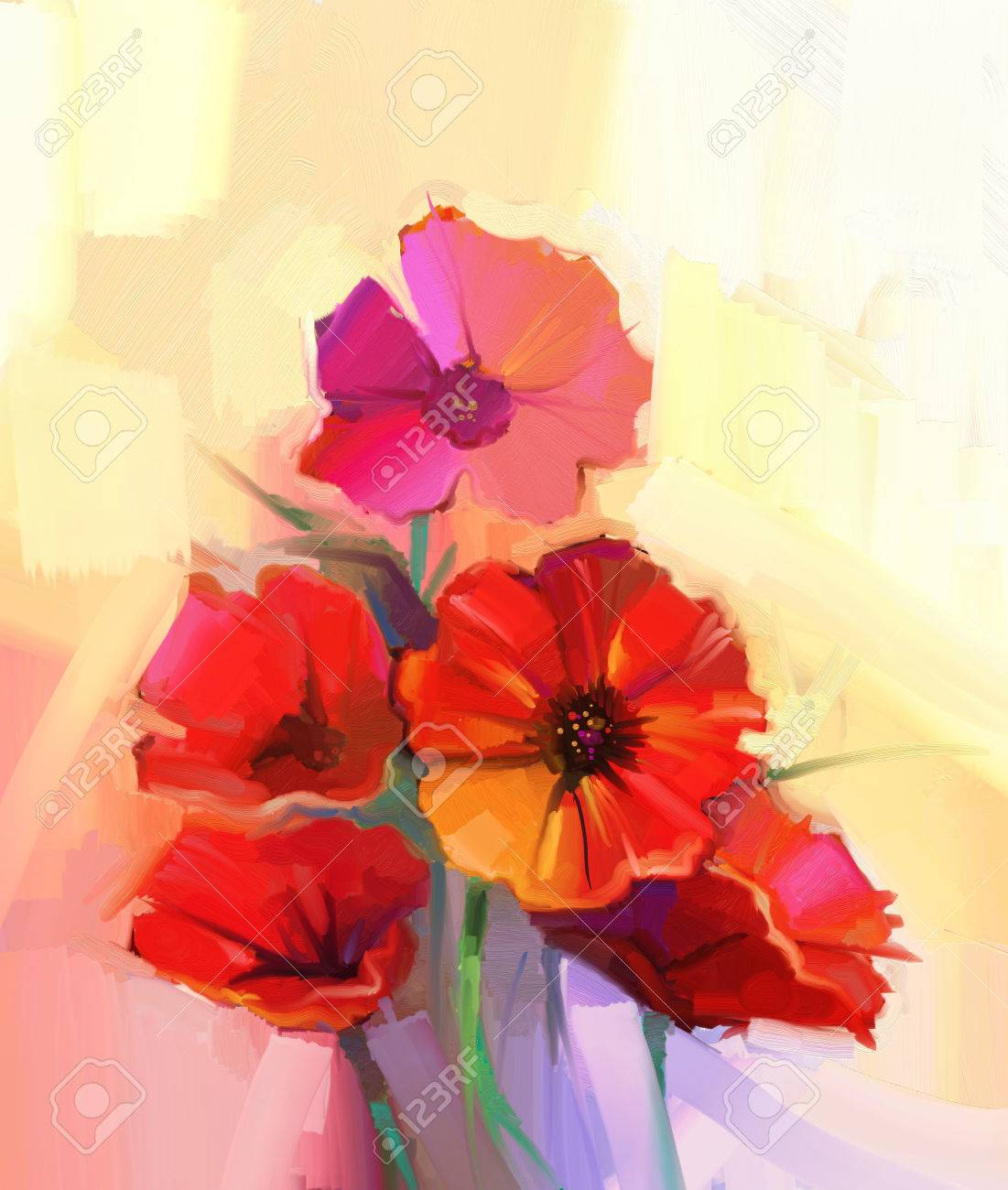 Oil Painting Red Poppy Flowers Flower Paint In Soft Color And