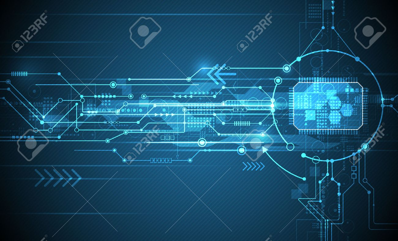 Vector Abstract futuristic circuit board and cpu, Illustration high computer and Communication technology on blue color background. Hi-tech digital technology,global social media concept - 50582401