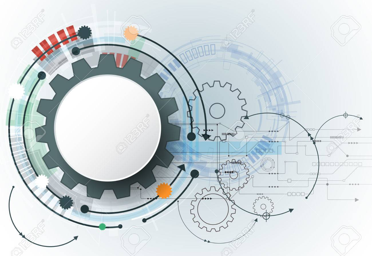 Vector Futuristic Technology 3d White Paper Gear Wheel On Circuit Board Template Illustration Hi Tech Engineering Digital Telecoms Concept