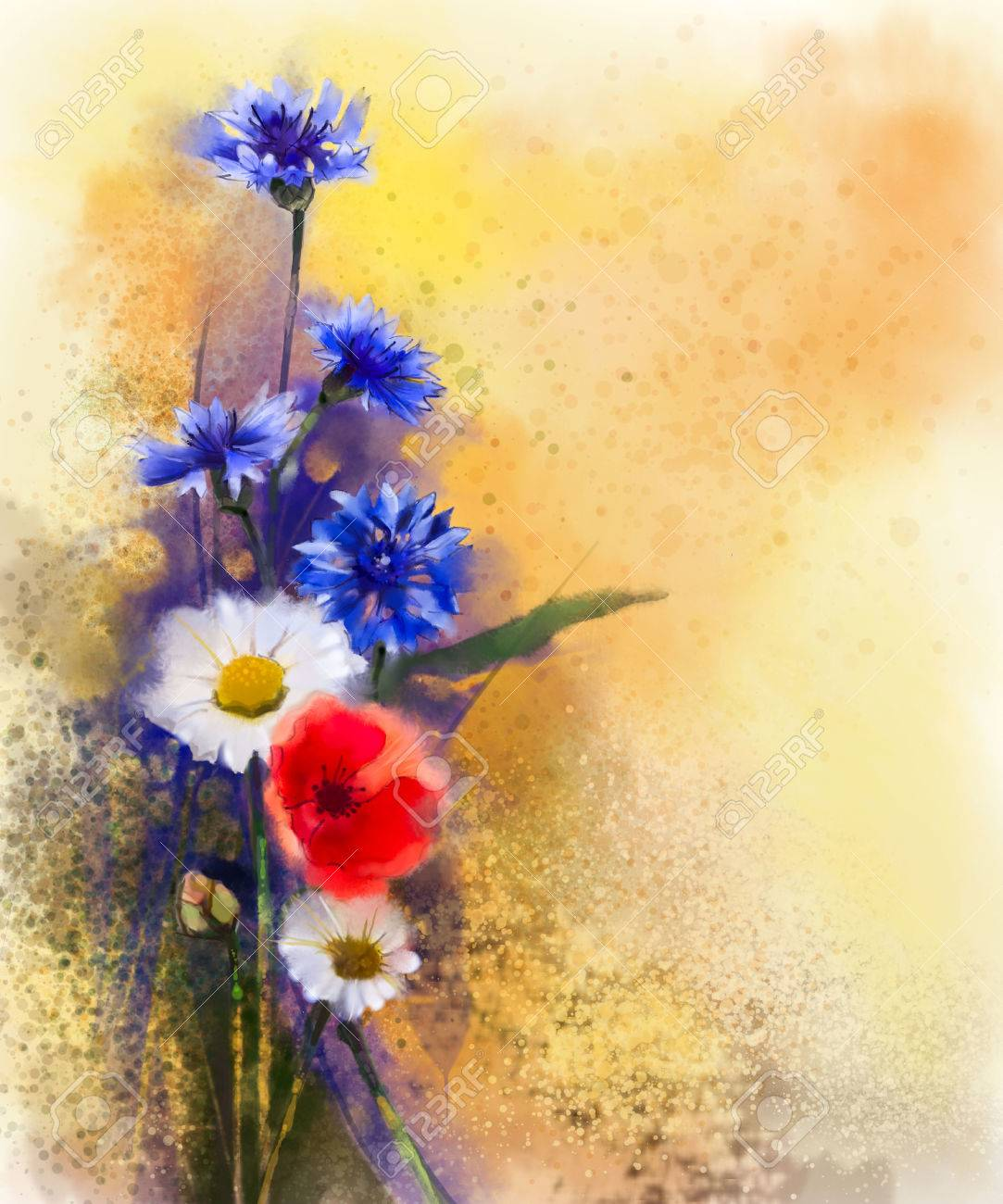 Watercolor Red Poppy Flowers Blue Cornflower And White Daisy